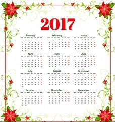 年历日历花朵2017年日历设计矢量素材