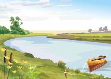 手繪河邊河流景色