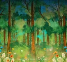 手绘水粉森林树林丛林海报背景