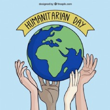 手绘世界背景的人道主义日