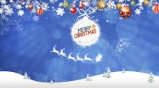 蓝色卡通风格圣诞节背景图