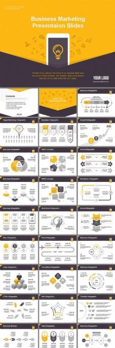 时尚黄黑图标云图标商务欧美风PPT模板