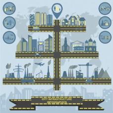 城市建筑群箭影矢量设计元素