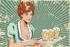 端啤酒的女招待图片