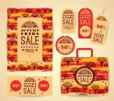秋季树木促销标签设计图片