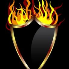 有形状的燃烧火焰向量图标矢量背景
