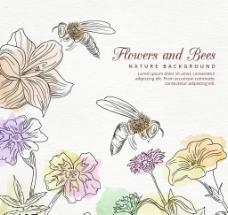 手绘蜜蜂和水彩花卉背景