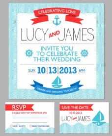 航海背景婚礼卡片模板下载