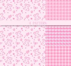 粉色系图案背景矢量图