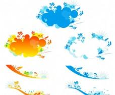 海浪冲浪潜水 卡通云朵