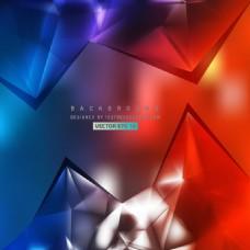 蓝红多边形三角背景模板
