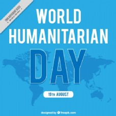 蓝色背景的人道主义日与地图