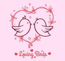 粉红背景与心鸟的爱