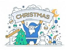 蓝色圣诞老人背景图片
