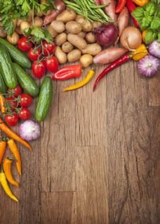 木板上的各种蔬菜图片