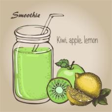 新鲜水果与冰沙矢量素材