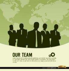 商务团队世界地图背景