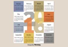 现代的日历2016