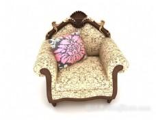 欧式复古花纹单人沙发 3d模型下载