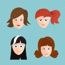 卡通女孩的脸收藏