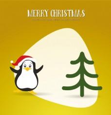圣诞节企鹅和圣诞树