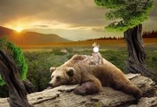 合成背景熊孩子