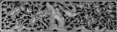 玉兰花花鸟镂空灰度图