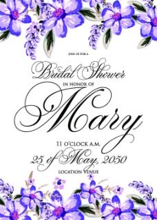 蓝色花朵婚礼卡片图片