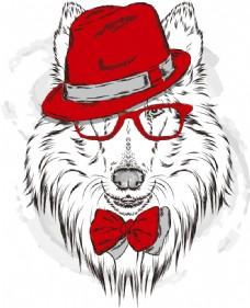 矢量卡通狼头像设计图片