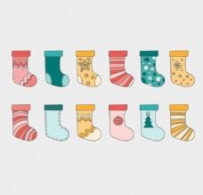 12款卡通圣诞袜矢量素材