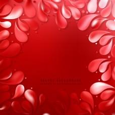 红色装饰花落背景