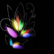 多彩的黑暗背景与Blurry Flower