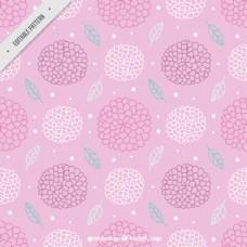 手绘花卉装饰粉红色图案