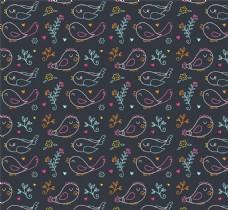 彩绘小鸟和小花无缝背景矢量素材