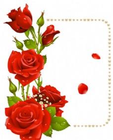 浪漫七夕玫瑰花边矢量