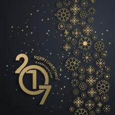 金色雪花背景新年快乐