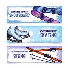滑雪运动横幅海报设计图片