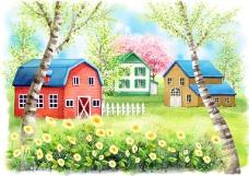 树林中的房子插画