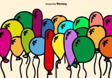 彩色卡通气球矢量背景