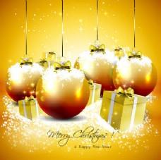 闪亮圣诞球及礼品盒背景
