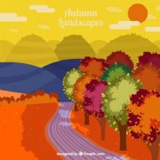 有丰富多彩的树木和山峦背景的途径