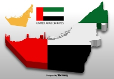 阿拉伯联合酋长国矢量3D地图