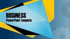 蓝色欧美简洁风格齿轮主题商务咨询PPT模板