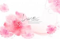 粉色花卉个性文本背景