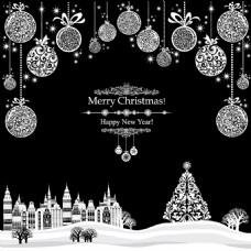 圣诞节黑白背景版式设计