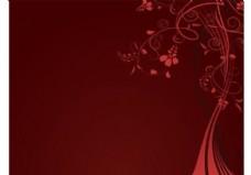 红色花卉背景模板