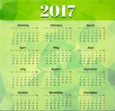 年历日历绿色2017年日历设计矢量素材