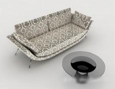 现代个性花纹双人沙发3d模型下载