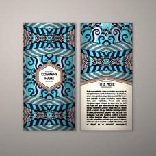 蓝色传统花纹传单图片