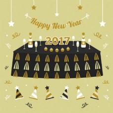 新年快乐新年戴帽子眼镜